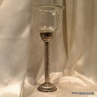 METAL PILLAR GLASS CANDLE HOLDER