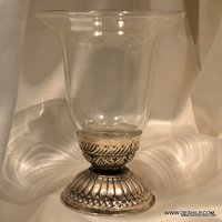 CLEAR GLASS METAL FITTING CANDLE HOLDER
