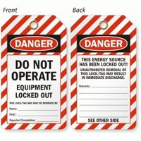 Osha Equipments Lockout Tags