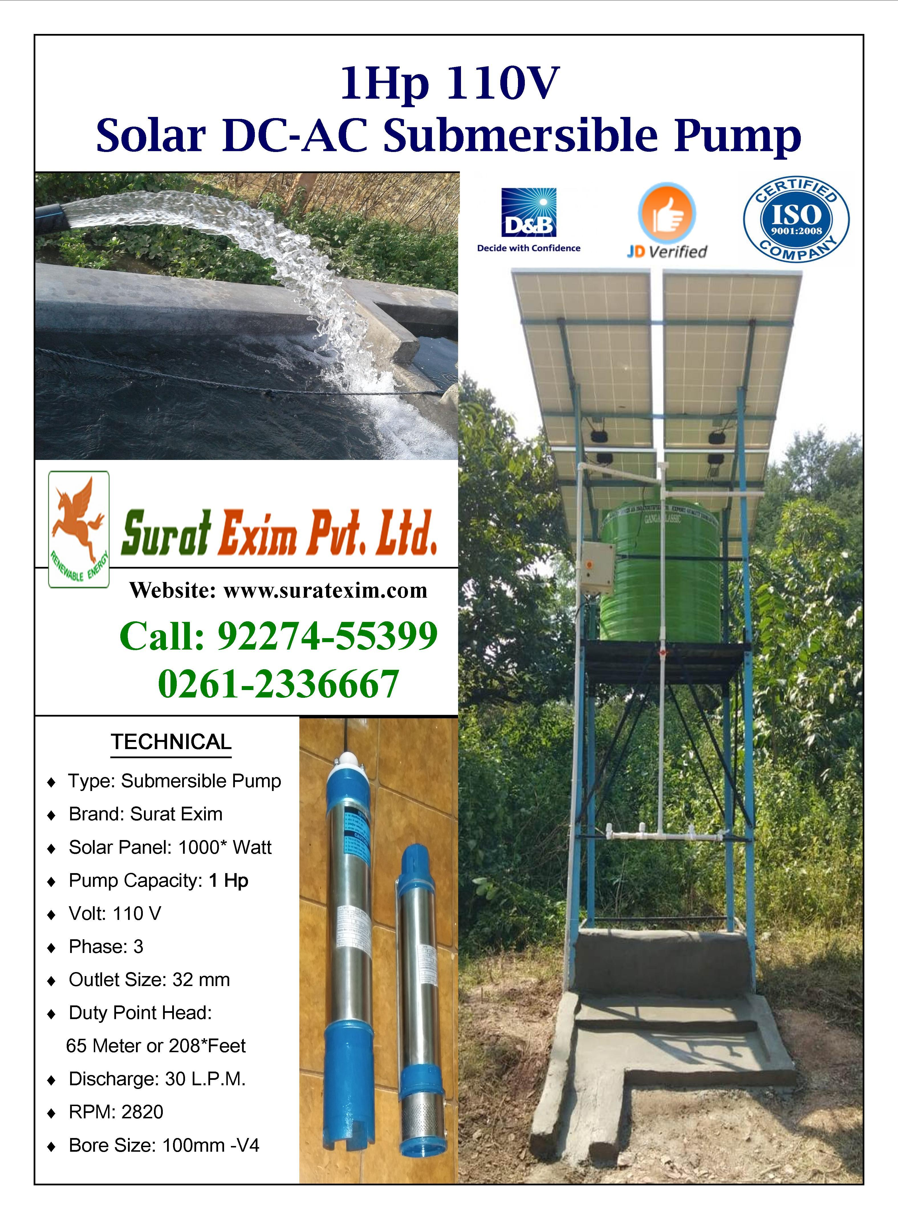1Hp solar submersible well water pump