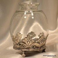 Clear Jar with Metal Candle Holder Flower Vase