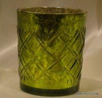 GREEN GLASS SILVER T LIGHT VOTIVE