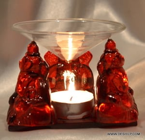 GLASS GANESHA IDOL WITH T LIGHT CANDLE
