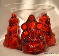GLASS GANESHA IDOL WITH T LIGHT CANDLE