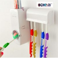 OkaeYa-b&m Plastic Automatic Toothpaste Dispenser with Tooth Brush Holder for Homes and Bathrooms (Multicolour, 16x10.5x7.6cm)