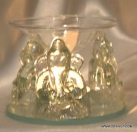 INDIAN RELIGION GLASS GANESHA MURTI WITH T LIGHT CANDLE