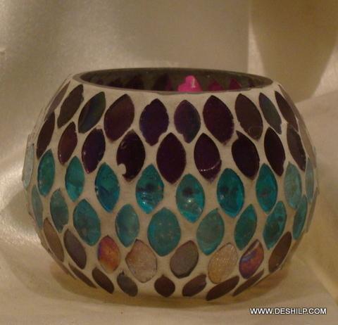 Mosaic Round Glass Candle Votive