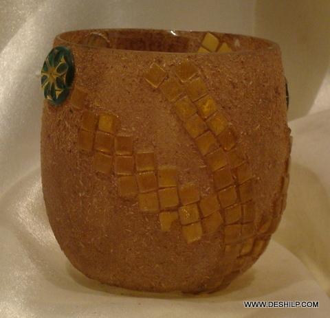 Orange Mosaic Glass Candle Holder Handmade Votive