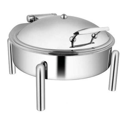 Round SS Lid Chafer With Pipe Leg
