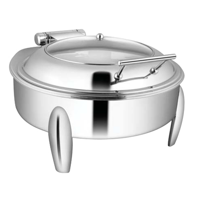 Round Glass LId Chafer With Curved Legs