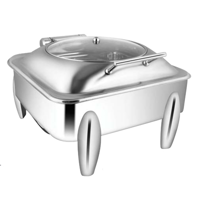 Square Glass Lid Chafer With Curved Legs