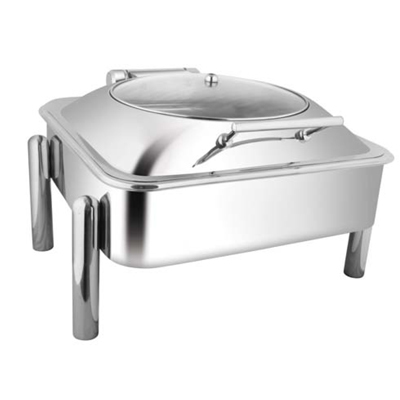 Square Glass Lid Chafer With Pipe Legs