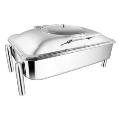 Rectangular Glass Lid Chafer With Pipe Legs
