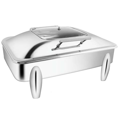 Rectangular Sq Glass Chafer With Curved Legs