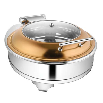 Round Rose Gold Glass Lid Chafer With E E & Frame