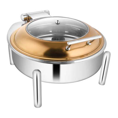 Round Rose Gold Glass Lid Chafer With Pipe Legs