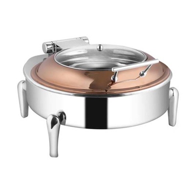 Round Rose Gold Glass Lid Chafer With Neo Legs