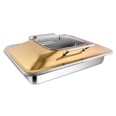 Rectangular Rose Gold Sq Glass Chafer