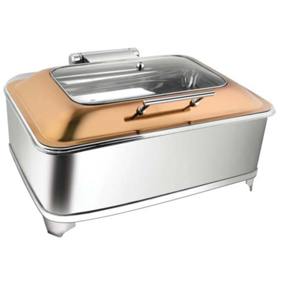 Rectangular Rose Gold Rect Glass Chafer With Fuel Frame