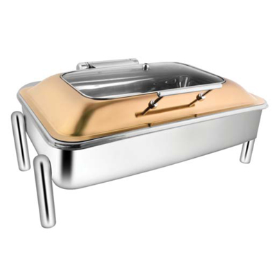 Rectangular Rose Gold Rect Glass Chafer With Pipe Legs