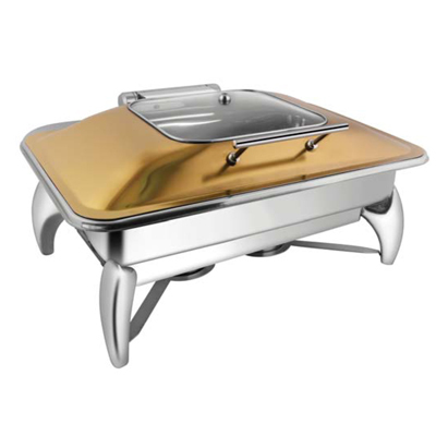Rectangular Rose Sq Glass Lid Chafer With Smart Leg