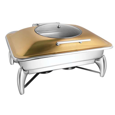Rectangular Rose Gold Glass Lid Chafer With Smart Legs