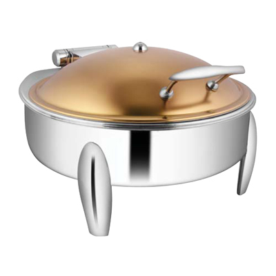 Round Rose Gold Chafer With Curved Legs