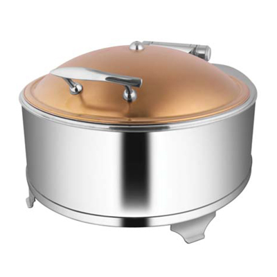 Round Rose Gold Chafer With Fuel Frame