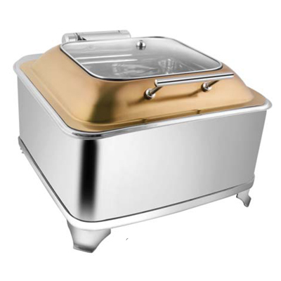 Square Rose Gold Sq Glass Lid Chafer With Fuel Frame