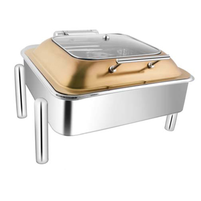 Square Rose Gold Sq Glass Lid Chafer With Pipe Legs