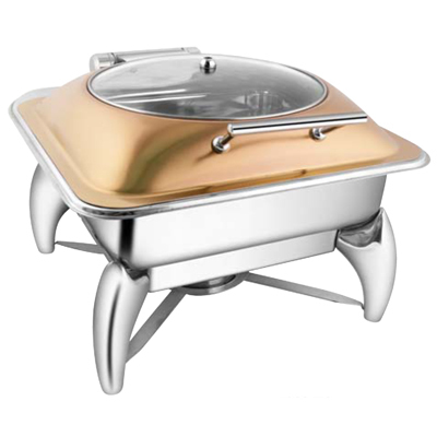 Square Rose Gold Glass Lid Chafer With Smart Leg