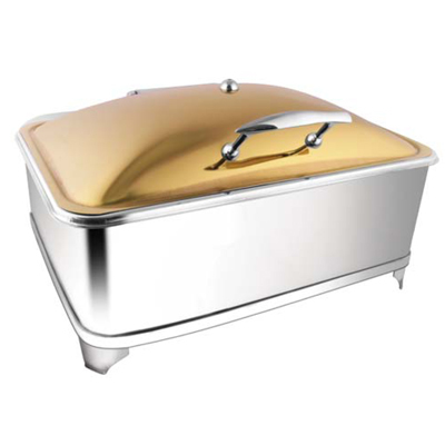 Rectangular Rose Gold Chafer With Fuel Frame