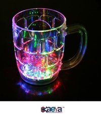 Okaeya-Light Changing Fibre Glass Beer Mug With Inductive Rainbow Color Disco Led 7 Colour Changing Liquid Activated Lights Multi Purpose Use Mug/Cup 650ml