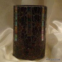 Fancy Crackle Glass Votive Candle Holder