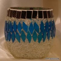 Decorated and Antique Mosaic Glass Candle Holder
