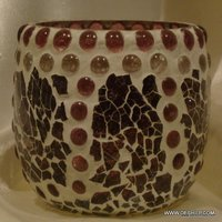 Decorated Mosaic Glass Candle Holder Handmade