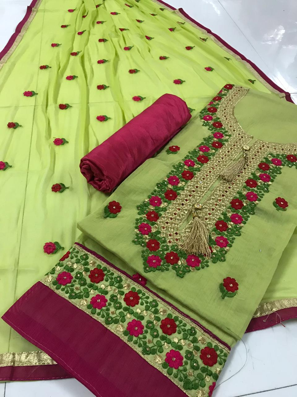 Embroidered Silk Dress Materials Suit