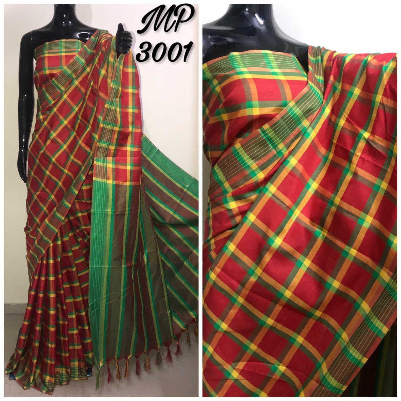Check Silk Saree
