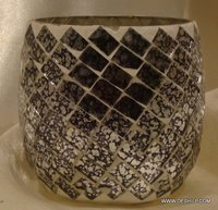 Color Decorative Glass Goblet Votive Candle Holders Metal Mosaic Pillar Candle Holders