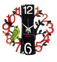 Hand Painted Wooden Wall Clock Multi Color Tree and Bird