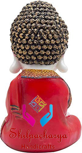 Little Baby Monk Buddha in Red Color for Home Decor