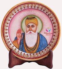 Hand Painted Marble Round Plate Gurunanak Dev