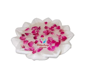 Hand Carved Decorative Marble Lotus Shape Plate