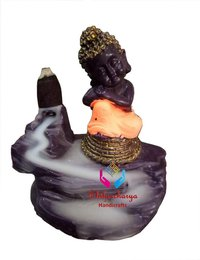 Meditating Monk Buddha with Smoke Backflow Cone Decorative Showpiece