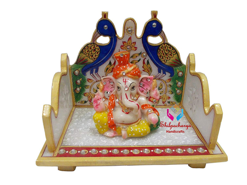 Hand Painted Marble Ganesha with Peacock Design Singhasan