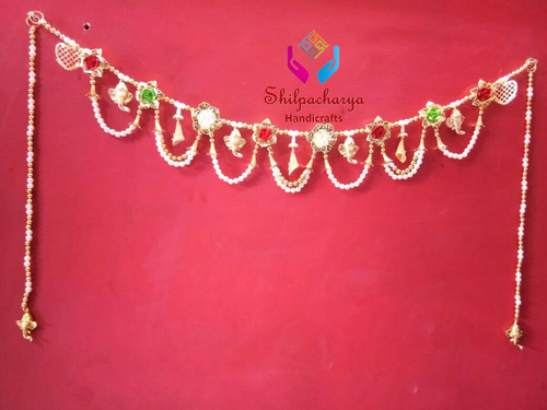 Beautiful Handmade Door Hanging Ganesha with Latkan and Flower Bandarwal