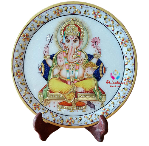 Lord Ganesha Marble Painting Plate 9 Inches