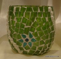Green Color Decorative Glass Votive Candle Holder