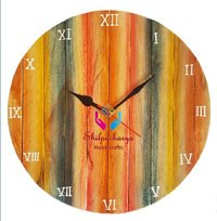 Hand Painted Round Wooden Wall Clock 11 Inches Size