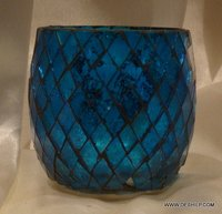 Antique-Style Glass Blue Mosaic Votive